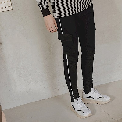 情侶系列-側邊織條口袋設計休閒褲-OB嚴選
