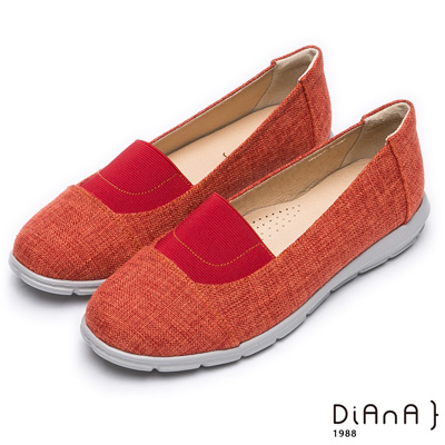 DIANA 輕巧自然—雙色織紋圓頭懶人鞋-橘