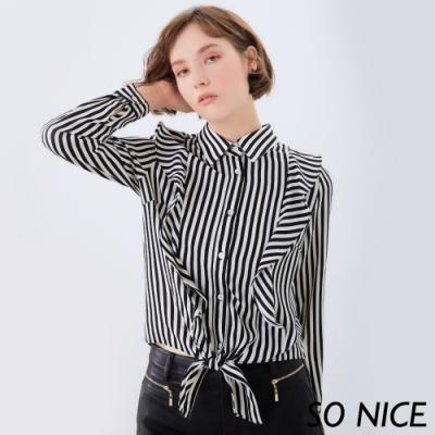 SO NICE都會直紋綁結造型襯衫上衣