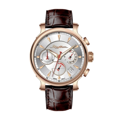 RHYTHM日本麗聲 雅痞視覺三眼設計日期顯示石英真皮腕錶-玫瑰金/44.5mm