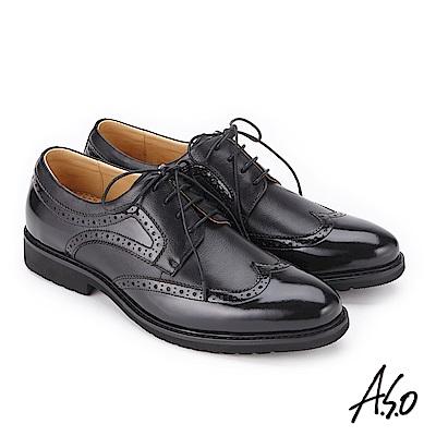 A.S.O 3D超動能 鏡面壓紋綁帶紳士皮鞋 黑