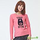 bossini女裝-印花長袖T恤02珊瑚色