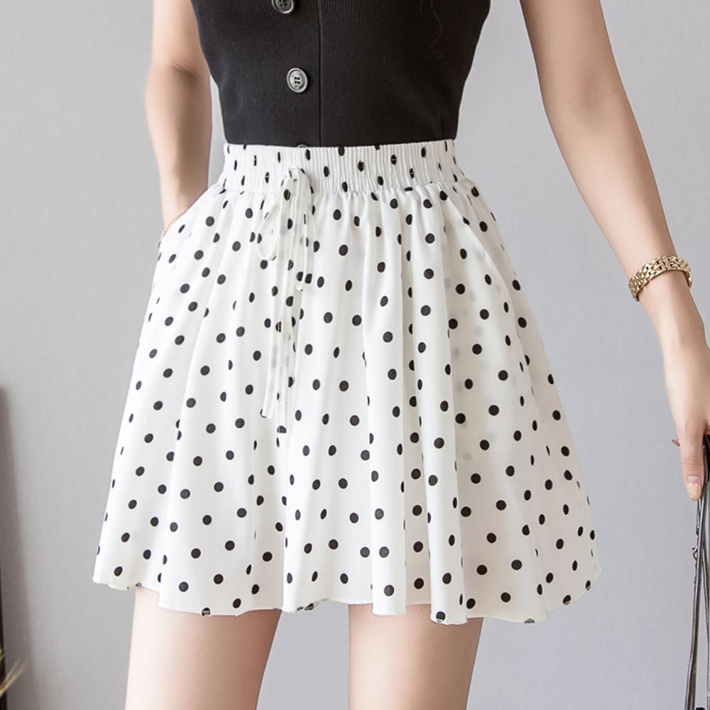 La Belleza波點鬆緊腰抽繩圓點點滑料褲裙