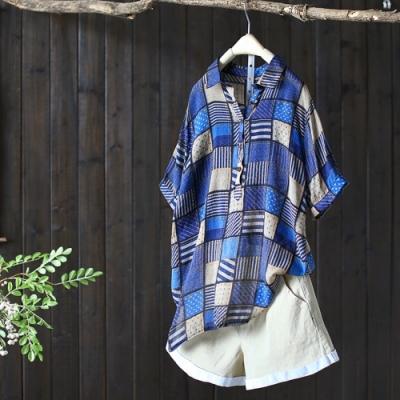 人棉拼接格子襯衫半袖套頭上衣-設計所在