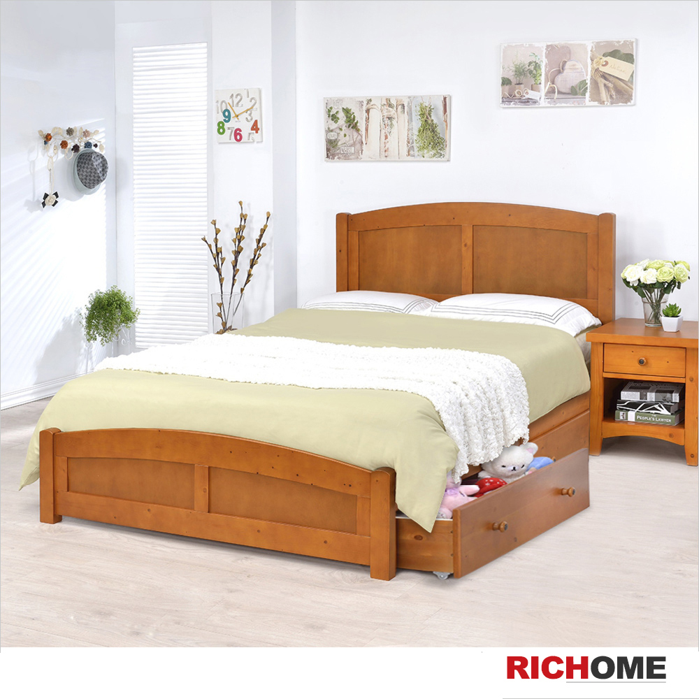 RICHOME 喬安娜雙人床-附雙抽屜(不含床墊)