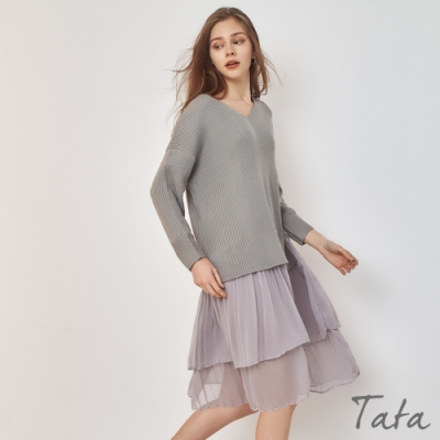 V領針織拼接下擺雪紡洋裝 TATA-(S~L)