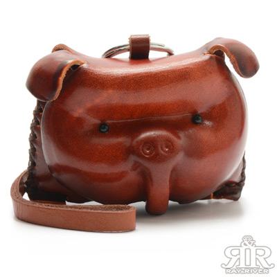 2R 樹羔植鞣牛皮Funny手工雕製豬寶零錢袋 質感棕
