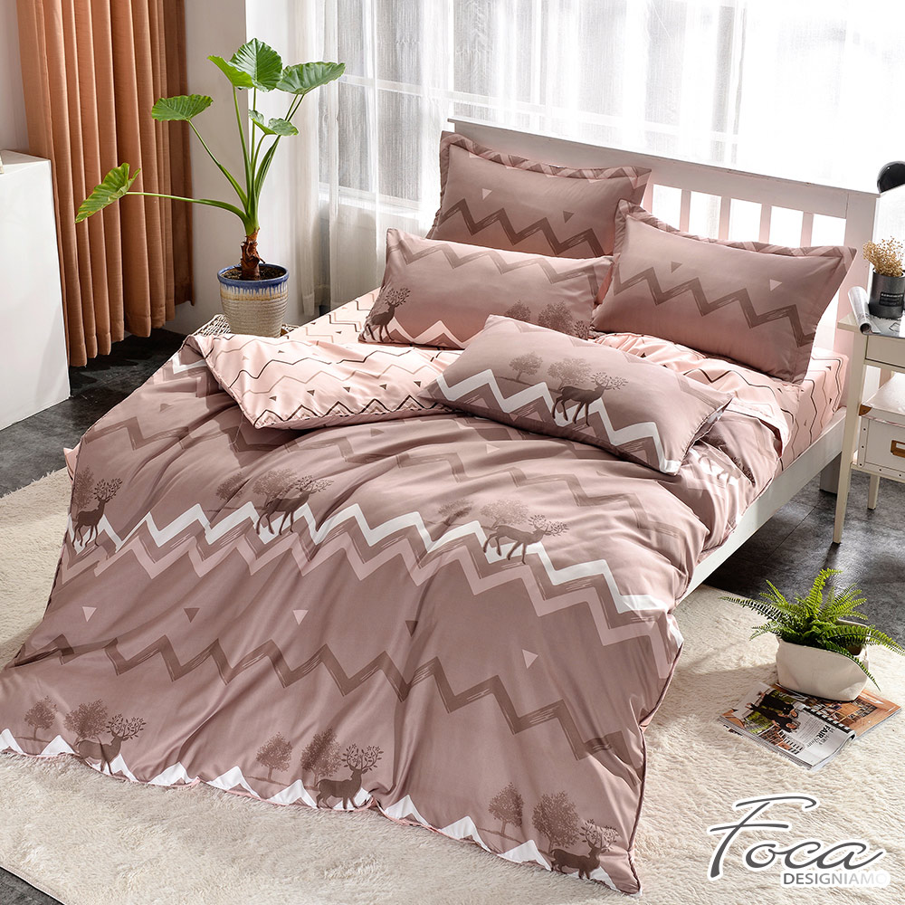 FOCA墨西哥日出 單人-北歐風活性印染100%雪絨棉三件式薄被套床包組