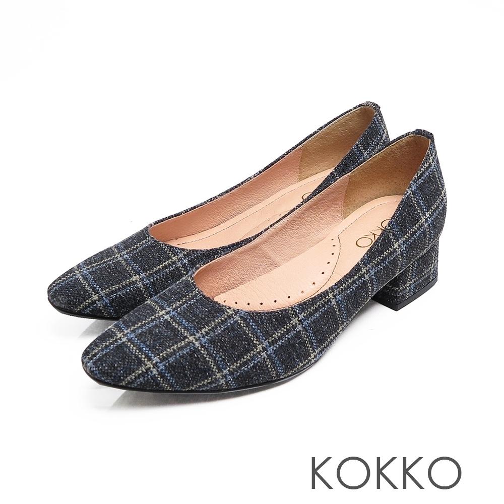 KOKKO - 經典英倫格紋方頭粗跟鞋 - 精品灰
