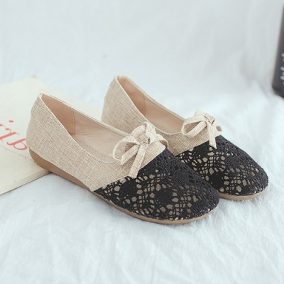 KEITH-WILL時尚鞋館 明星款輕甜休閒簍空麻布平底鞋-黑