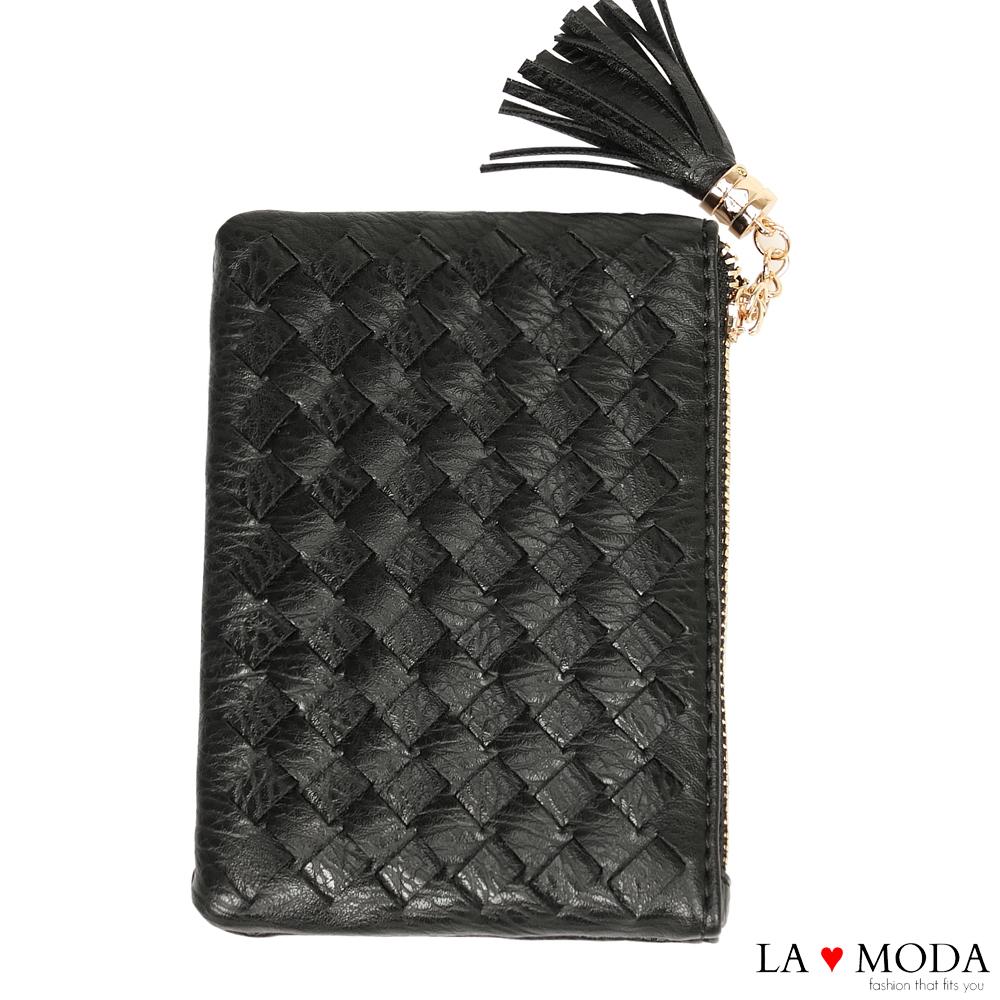 La Moda 女孩最愛手工編織設計小巧零錢包卡包(黑)