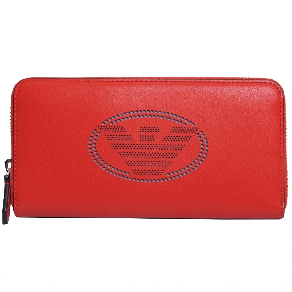 EMPORIO ARMANI 經典品牌LOGO圖騰拉鍊式長夾(紅色)