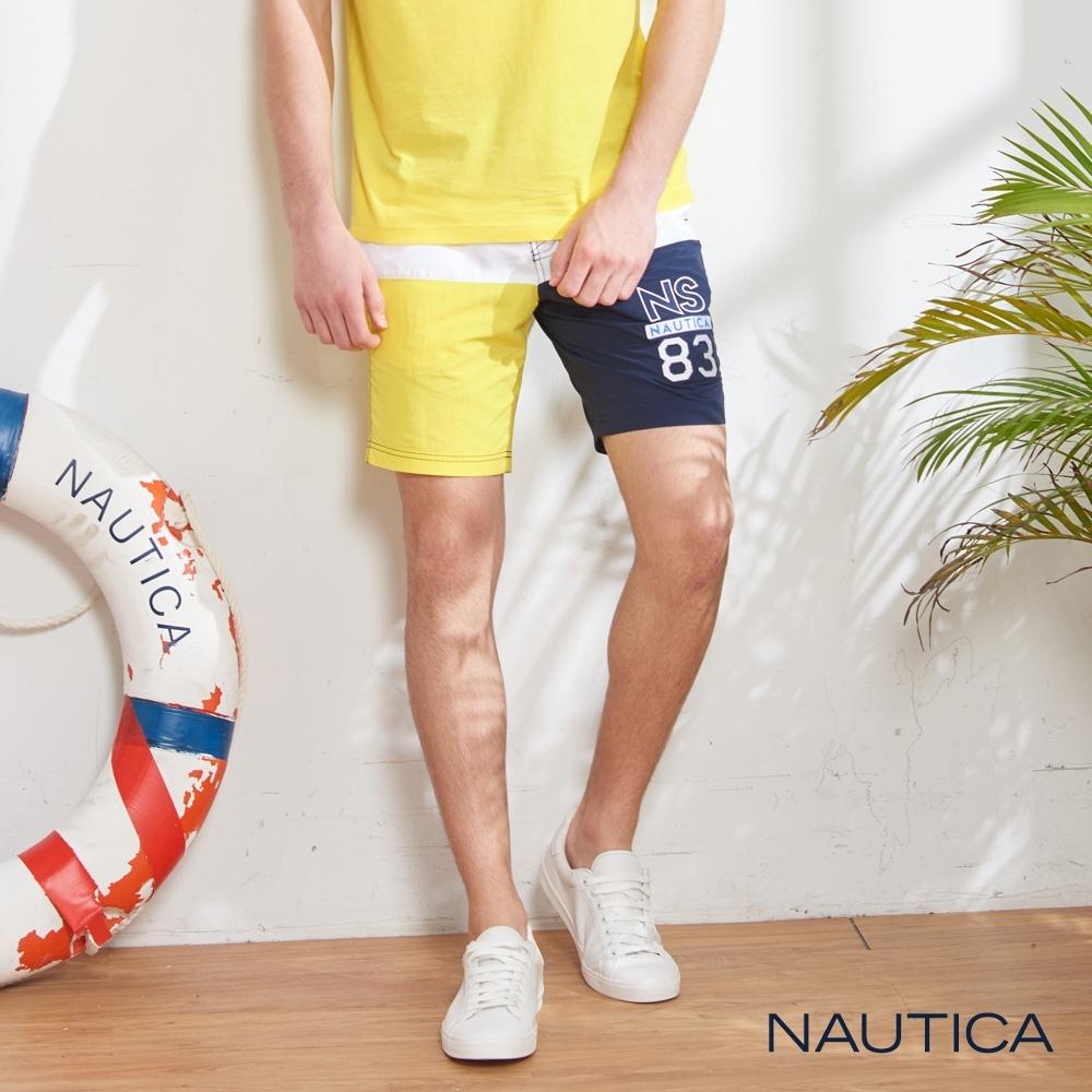 Nautica經典LOGO拼接鬆緊綁帶海灘褲-藍黃