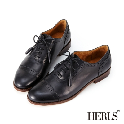 HERLS 英式日常 全真皮捲心鞋帶沖孔牛津鞋-黑色
