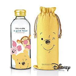 迪士尼Disney微笑維尼好朋友耐熱玻璃瓶袋組1L(快)