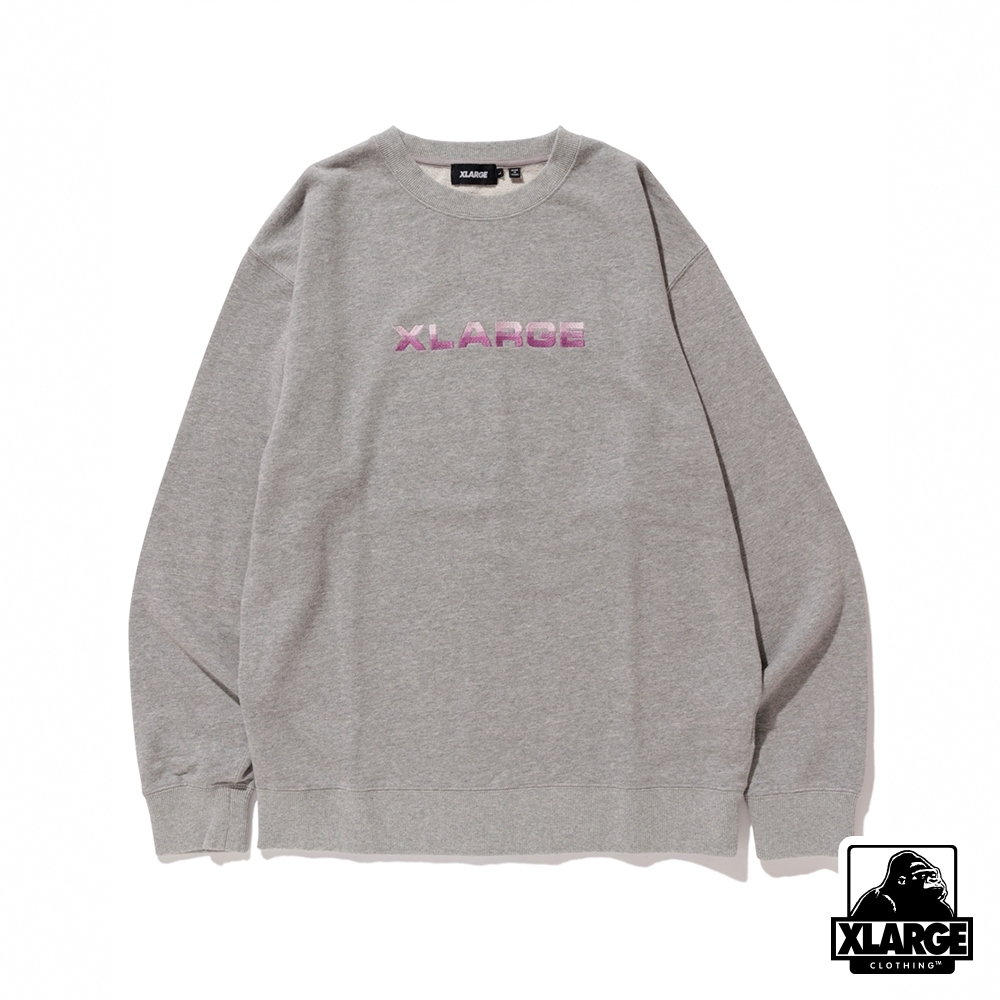 XLARGE EMBROIDERY GRADATION LOGO CREWNECK SWEAT大學T-灰