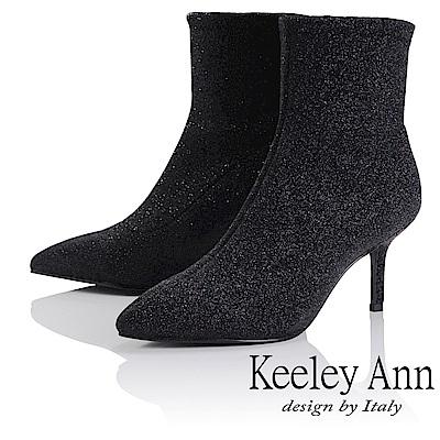Keeley Ann 歐美摩登~亮粉閃耀細跟尖頭短靴(黑色-Ann系列)