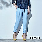 IGD英格麗 涼夏清爽藍綁帶哈倫長褲-藍