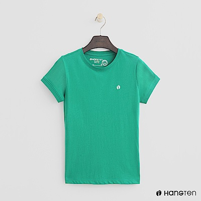Hang Ten - 女裝 - 有機棉-logo圓領純色T恤 - 綠