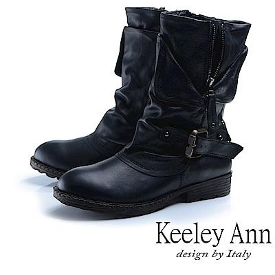 Keeley Ann 鉚釘龐克~個性環釦拉鍊層次真皮低跟中筒靴(黑色)