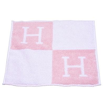 HERMES 經典Avalon H LOGO純棉方巾(玫瑰粉)