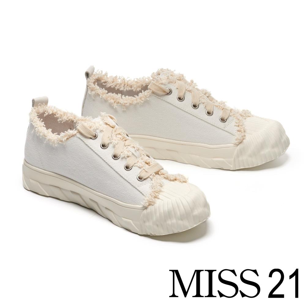 休閒鞋 MISS 21 可愛小療癒抽鬚設計帆布休閒鞋-白