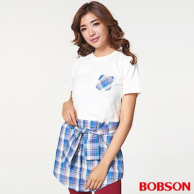 BOBSON 女款仿兩件式綁腰上衣