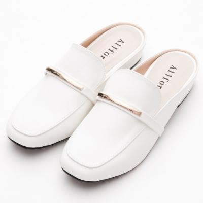 River&Moon穆勒 台灣製氣質金屬方頭低跟鞋 白