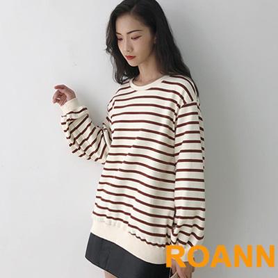 百搭款圓領條紋寬鬆長袖T恤 (紅條紋)-ROANN