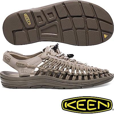 KEEN 1017882淺灰 Uneek Leather女戶外編織涼鞋