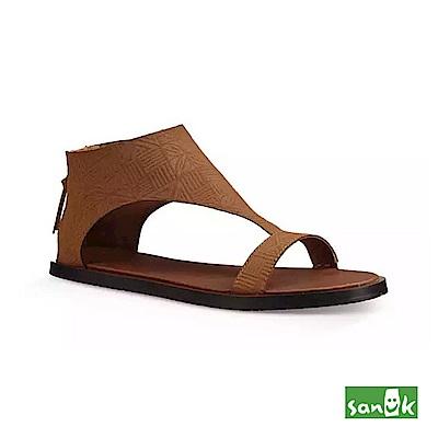 SANUK 幾何壓紋瑜珈墊涼鞋-女款(褐色)