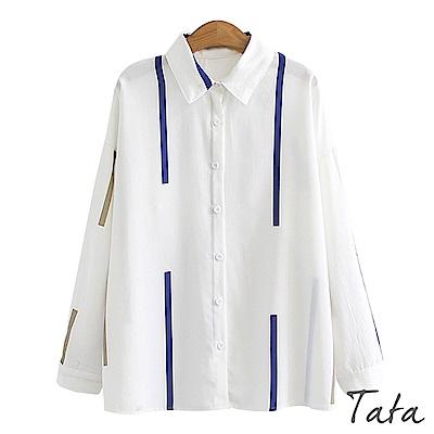 不規則條紋雪紡上衣 共二色 TATA