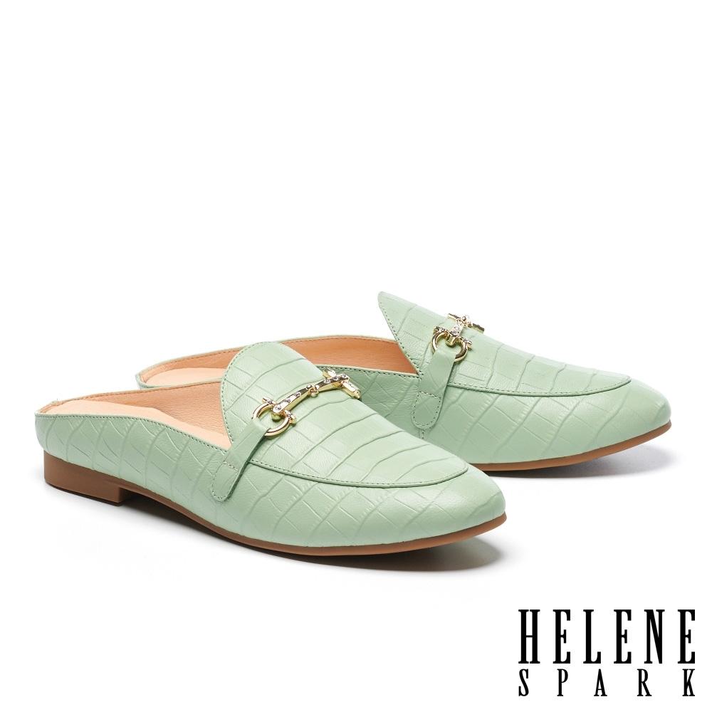穆勒鞋 HELENE SPARK 時尚品味晶鑽馬銜釦低跟穆勒拖鞋-綠