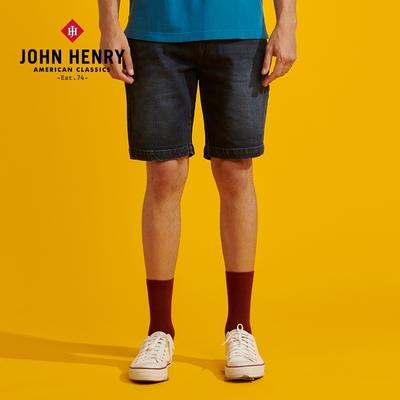 【JOHN HENRY】復古反摺牛仔短褲-藍