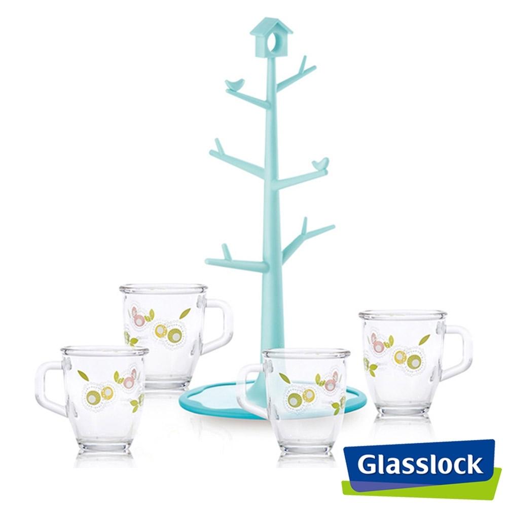 Glasslock玻璃馬克杯四入組+吸盤式樹杯架