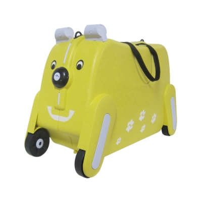 RAIN DEER 彩色繽紛狗19吋可坐式兒童置物/行李箱-黃色