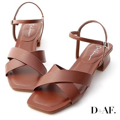 D+AF 優雅俐落.寬版交叉方頭低跟涼鞋*咖