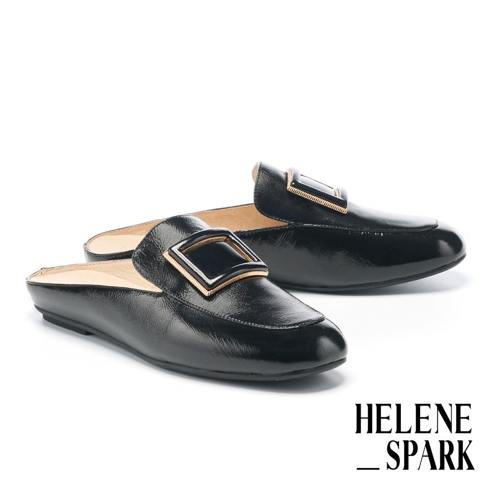 穆勒鞋 HELENE SPARK 文青氣質金屬大方釦全真皮穆勒拖鞋-黑