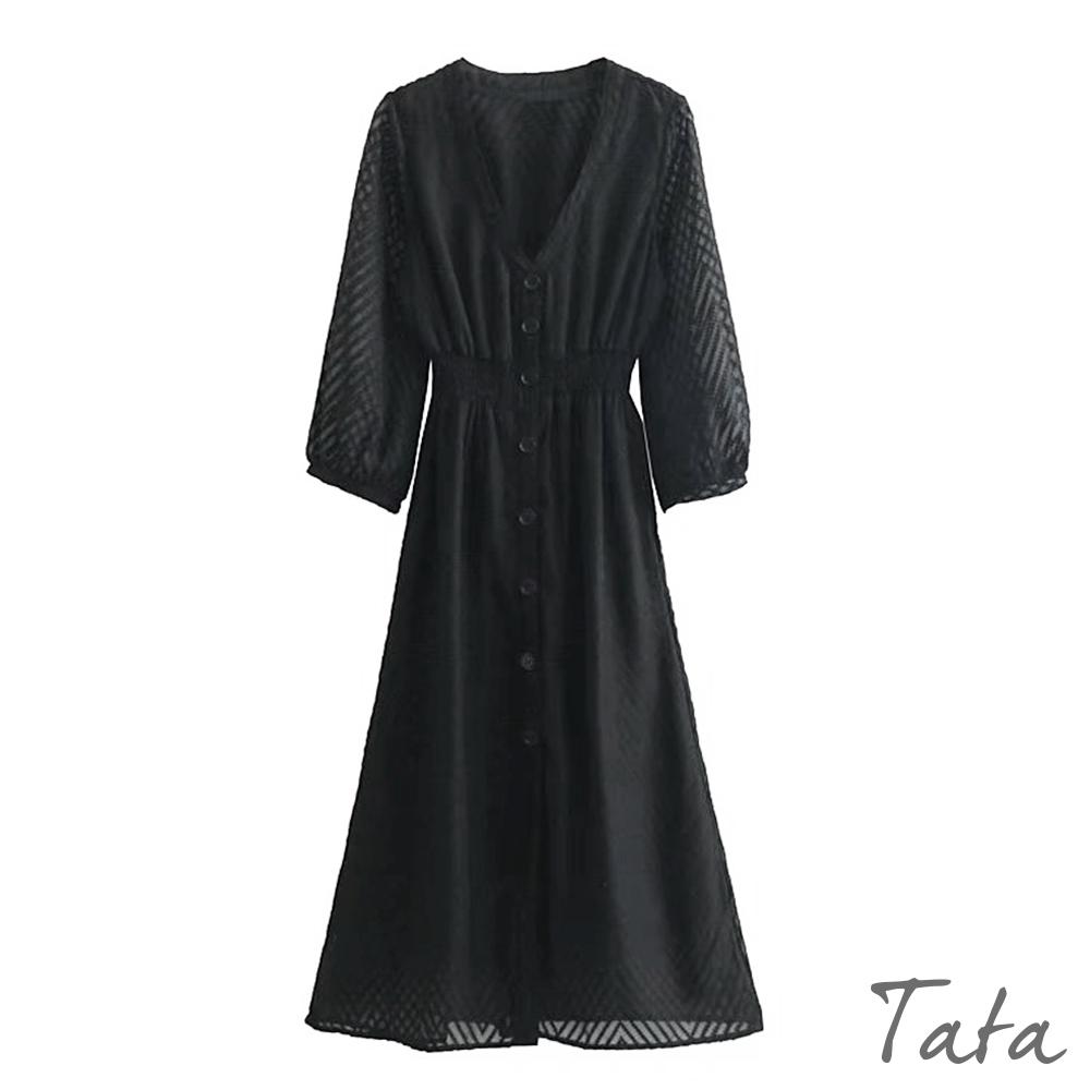 織紋黑紗鬆緊腰排扣洋裝 TATA