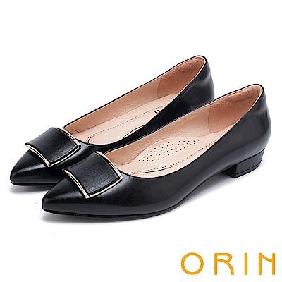 ORIN 復刻經典 柔軟羊皮金屬方扣尖頭粗低跟鞋-黑色