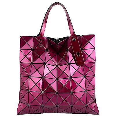 ISSEY MIYAKE 三宅一生BAOBAO 金屬亮面方格6x6手提包(紫紅)