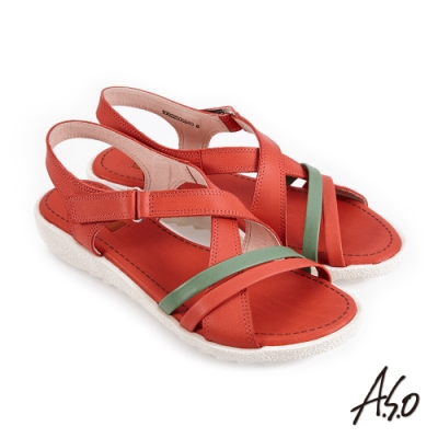 A.S.O 機能休閒 厚底美學撞色條帶魔鬼氈休閒涼鞋-紅