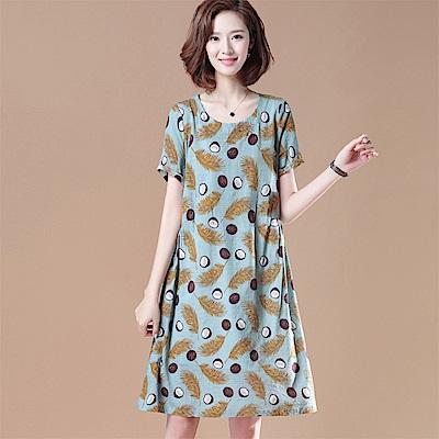 初色  圓領印花短袖洋裝-藍綠色-(M-2XL可選)