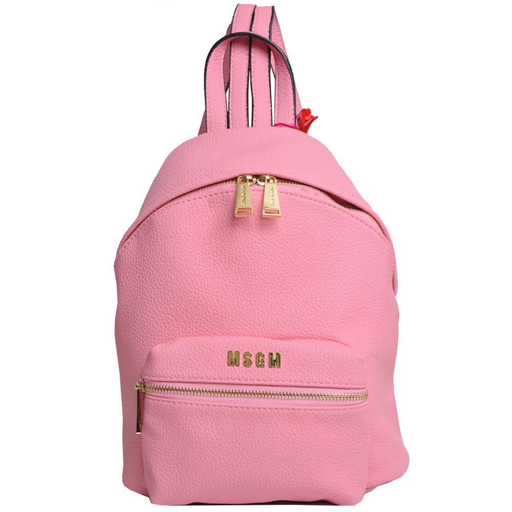 MSGM 品牌金色LOGO字母荔枝壓紋後背包(粉紅)