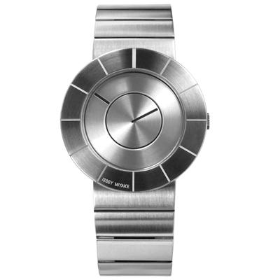 ISSEY MIYAKE 三宅一生 TO系列日本設計師金屬質感不鏽鋼手錶-銀色/38mm
