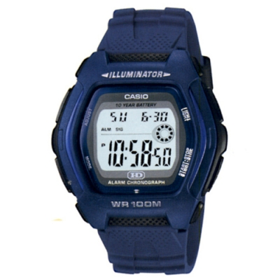 CASIO 帥氣酒桶兩地時間運動電子錶(HDD-600C-2A)-藍/44.1mm