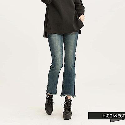 H:CONNECT 韓國品牌 女裝 - 刷色流蘇喇叭牛仔褲-深藍(快)