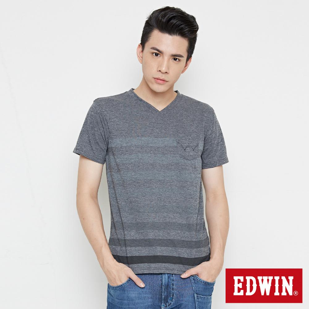 EDWIN 涼感V領條紋短袖T恤-男-黑灰