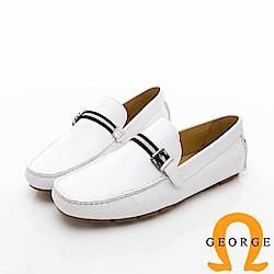【Amber】悠閒時尚 素面綁扣飾樂福鞋-白色