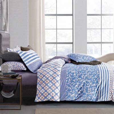 羽織美 湛藍天空 雕花水晶絨加大鋪棉床包被套組